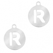 Bedels van Stainless steel Roestvrij staal (RVS) rond 10mm initial coin R Zilver