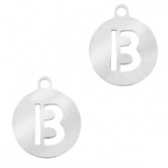 Bedels van Stainless steel Roestvrij staal (RVS) rond 10mm initial coin B Zilver
