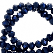 Facet kralen top quality disc 4x3 mm Dark blue-pearl shine coating