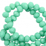 Facet kralen top quality disc 8x6 mm Dark spearmint green-pearl shine coating