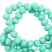 Facet kralen top quality disc 6x4 mm Spearmint green-pearl shine coating