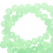 Facet kralen top quality disc 6x4 mm Medium green opal-pearl shine coating