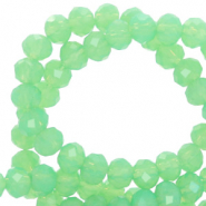 Facet kralen top quality disc 4x3 mm Green opal-pearl shine coating