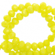 Facet kralen top quality disc 6x4 mm Charlock yellow-pearl shine coating