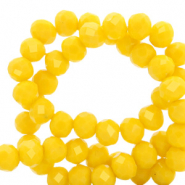 Facet kralen top quality disc 6x4 mm Vibrant yellow-pearl shine coating