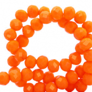 Facet kralen top quality disc 4x3 mm Emberglow orange-pearl shine coating