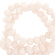 Facet kralen top quality disc 8x6 mm Light peach beige-pearl shine coating