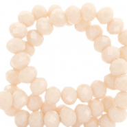 Facet kralen top quality disc 6x4 mm Peach beige-pearl shine coating