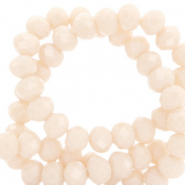 Facet kralen top quality disc 4x3 mm Light peach beige-pearl shine coating