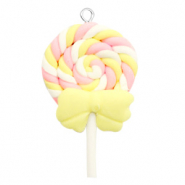 Bedels 1 oog fimo ice lolly Yellow-pink