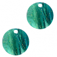 Hangers van resin rond 12mm Ocean green