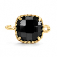 Crystal glas tussenstukken square 9x9mm Jet black-gold