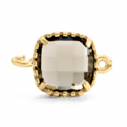 Crystal glas tussenstukken square 9x9mm Black diamond-gold