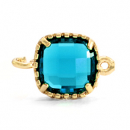 Crystal glas tussenstukken square 9x9mm Aquamarine blue-gold