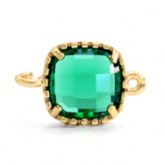 Crystal glas tussenstukken square 9x9mm Emerald green-gold