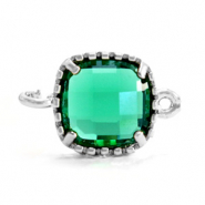 Crystal glas tussenstukken square 9x9mm Emerald green-silver
