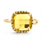 Crystal glas tussenstukken square 9x9mm Yellow-gold