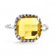 Crystal glas tussenstukken square 9x9mm Yellow-silver