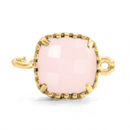 Crystal glas tussenstukken square 9x9mm Rose alabaster-gold