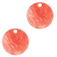 Hangers van resin rond 12mm Coral red