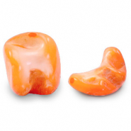 Schelp kralen nugget shape Persimmon orange