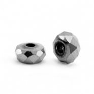 Kralen van hematite disc facet 4x2mm Anthracite grey