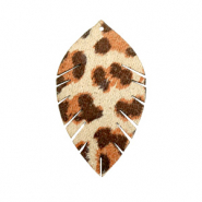 Hangers imi leer blaadje small leopard Beige-red brown