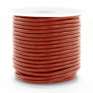 Leer DQ rond 3 mm Red ochre brown