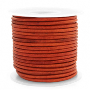 DQ Leer Voordeelrollen rond 3 mm Vintage fired orange
