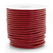 Leer DQ rond 3 mm Carmine red