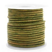 Leer DQ rond 3 mm Vintage moss green