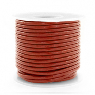 Leer DQ rond 2 mm Red ochre brown