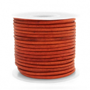 DQ Leer Voordeelrollen rond 2 mm Vintage fired orange