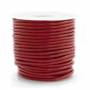 Leer DQ rond 2 mm Carmine red