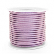 Leer DQ rond 2 mm Lilac purple metallic