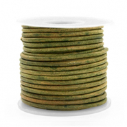 Leer DQ rond 2 mm Vintage moss green