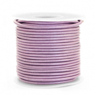 Leer DQ rond 1 mm Lilac purple metallic
