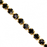 Strass chain ketting Black-gold