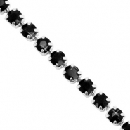 Strass chain ketting Black-silver