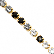 Strass chain ketting Black crystal-gold