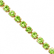 Strass chain ketting Lime green-gold