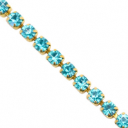 Strass chain ketting Turquoise blue-gold