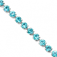Strass chain ketting Turquoise blue-silver
