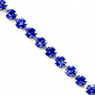 Strass chain ketting Cobalt blue-silver