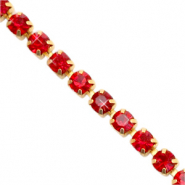 Strass chain ketting Siam red-gold
