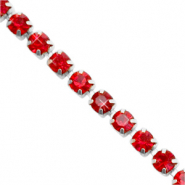 Strass chain ketting Siam red-silver