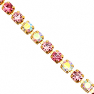 Strass chain ketting Pink crystal AB-gold