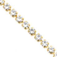 Strass chain ketting Crystal-gold