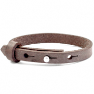 Cuoio armband voor kids 8mm voor 12mm cabochon Graphite brown