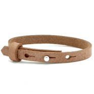 Cuoio armband voor kids 8mm voor 12mm cabochon Toasted nut brown